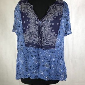 Lucky Brand Womens Blue Sheer Patterned Blouse L